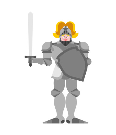 Joan of Arc. Woman knight history. National heroine of France Vector illustration