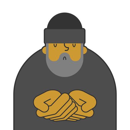 Homeless isolated. Beggars, Poor. bum hobo Vector illustration Illusztráció