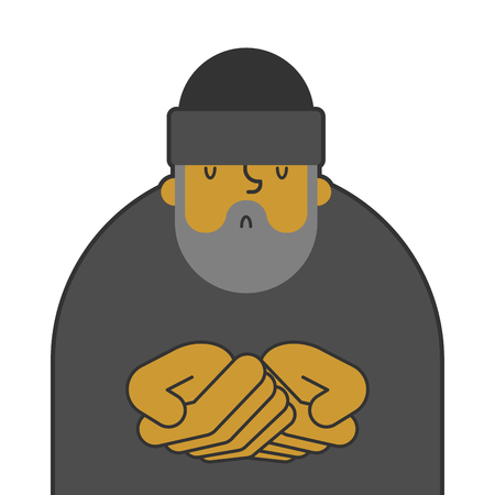 Homeless isolated. Beggars, Poor. bum hobo Vector illustration Illustration