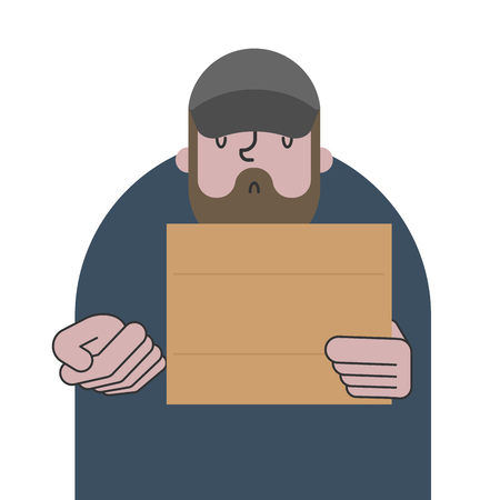 Homeless and cardboard. Beggars and blank plate, Poor. bum hobo Vector illustration Vector Illustration