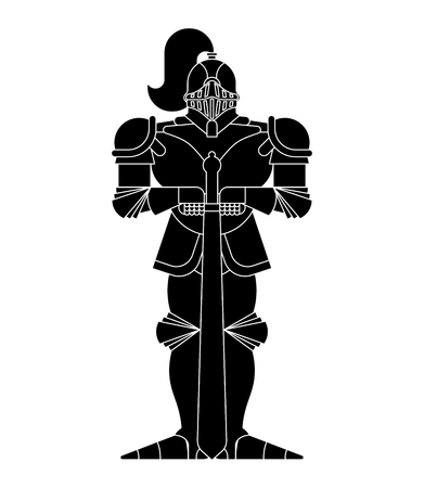 Black Knight isolated. Metal armor warrior. Iron armor. Plate and sword. Vector illustration
