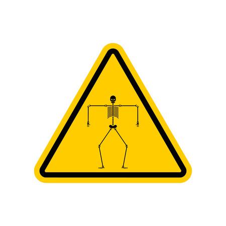 Attention death Skeleton. Caution yellow road sign Skull and bone anatomy human. Vector illustration.  イラスト・ベクター素材
