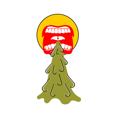 Vomit face emoji. Puke Vector illustration. Retching cartoon. Vomitus Illustration