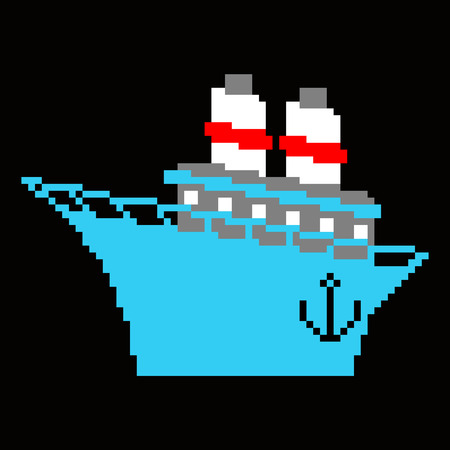 Ship pixel art. 8 bit Steamboat vector illustration. Blue boat