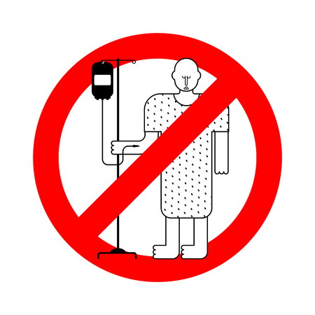 Stop Hospital patient. Forbidden red road sign sick man. Ban Vector illustration.