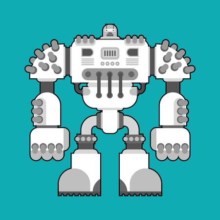 Battle robot isolated. Cyborg warrior future. Vector illustration Illustration