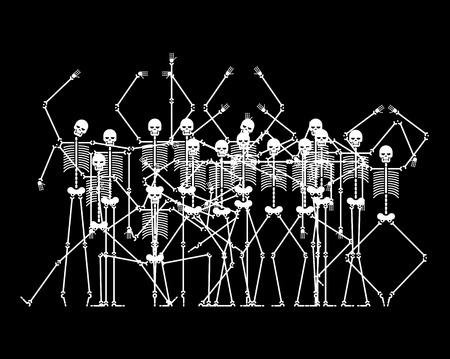 Skeletons in Hell. Sinners skeleton crowd. vector illustration