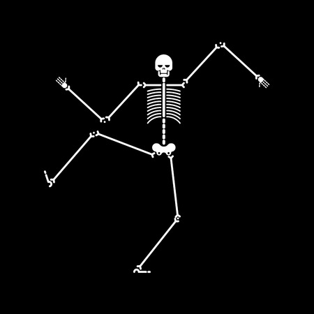 Skeleton dance isolated. Skull and bone dances. Vector illustration.