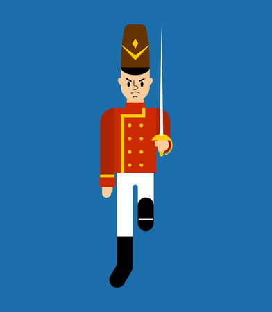 Toy soldier Guardsman plaything isolated. Vector illustration.