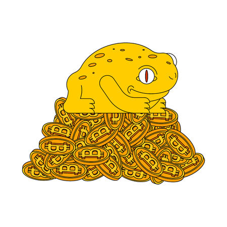Frog and bitcoin. Chinese symbol of wealth. Crypto currency and toad. Miner mascot. Vector illustration.