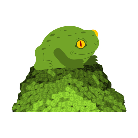 Frog and money. Chinese symbol of wealth. toad and coin. Vector illustration.