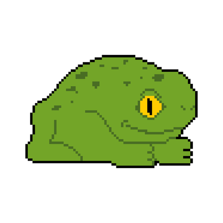 Arte de píxeles de rana. Sapo de 8 bits. Ilustración vectorial
