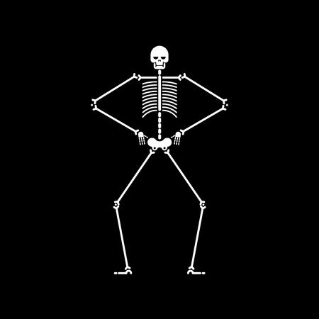 Skeleton dance isolated. Skull and bone dances. Vector illustration.