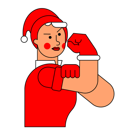 We can do it Santa woman symbol power female. New year girl showing fist. Vector illustration
