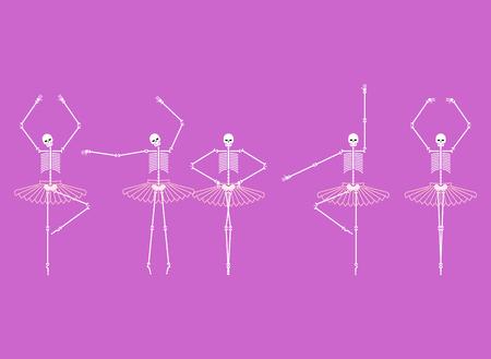 Skeleton ballerina set. Skull and bones ballet. Halloween Vector illustration.