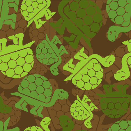 Turtle military pattern seamless. Army animal background. Soldier protective texture. Vector illustration.