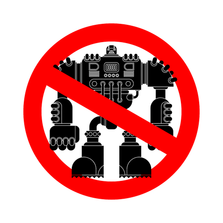 Stop Robot Battle. Forbidden red road sign. No Cyborg warrior future. Ban Vector illustration.