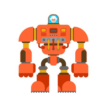 Robot Exoskeleton grandmother. Grandma Cyborg warrior future. Vector illustration