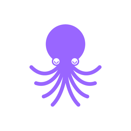 Octopus cartoon style isolated. Devilfish underwater animal. Poulpe vector illustration 일러스트
