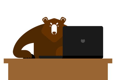Bear laptop working. Grizzly and notebook. vector illustration