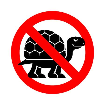 Stop Turtle. Forbidden red road sign. Ban tortoise Vector illustration. Vektoros illusztráció