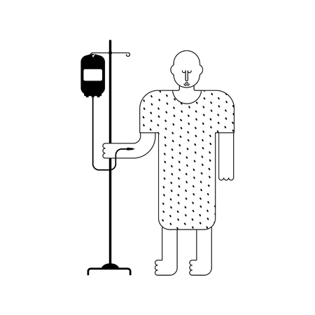 Hospital patient with dropper. Sick man Vector illustration.
