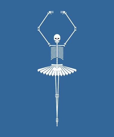 Skeleton ballerina isolated. Skull and bones ballet. Halloween Vector illustration.