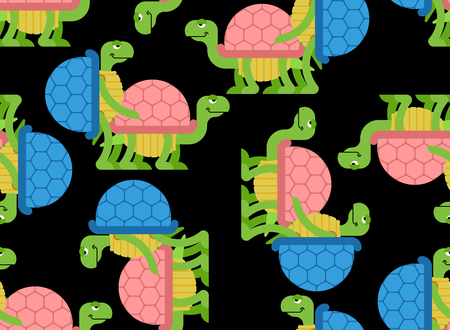 Turtle pattern seamless. Tortoise background. Reptile ornament. Animal reproduction texture
