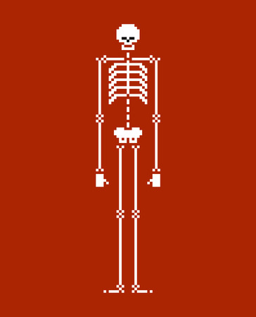 Skeleton pixel art. Skull and bone 8 bit. Vector illustration.