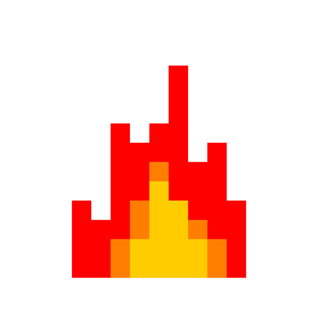 Fire pixel art. 8 Bit Flame. vector illustration Illustration