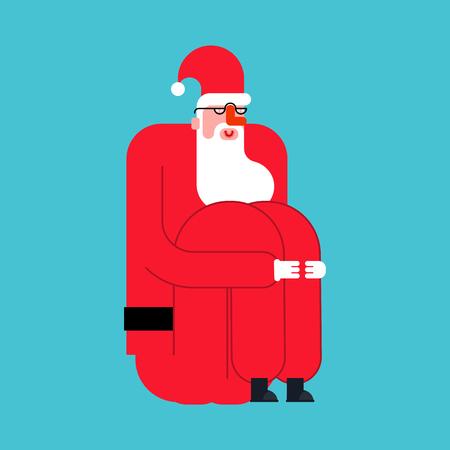 Santa hugs his knees isolated. Christmas holidays. New Year Vector Illustration