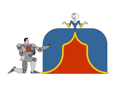 Knight standing on one knee and making marriage proposal lady. Medieval rendezvous. Mediaeval love. Valentines Day. February 14 illustration. Ilustração