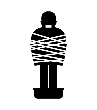 Mafia victim icon. Man tied up with rope Cement shoes. pelvis with concrete. gangster prey
