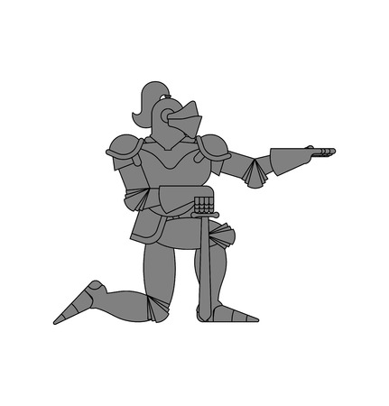 Knight standing on one knee isolated. Valentines Day. February 14 illustration. Illustration