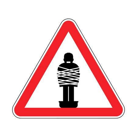 Attention Mafia victim. Caution gangster prey. Red road sign. Man tied up with rope Cement shoes. Warning Criminals Ilustração Vetorial
