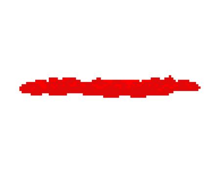 Pool of blood pixel art. 8 bit Red puddle. Vector illustration