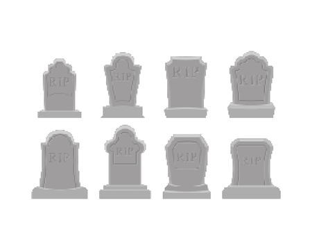 Grave pixel art set. Tomb 8 bit. Gravestone Halloween. RIP Cemetery vector illustration