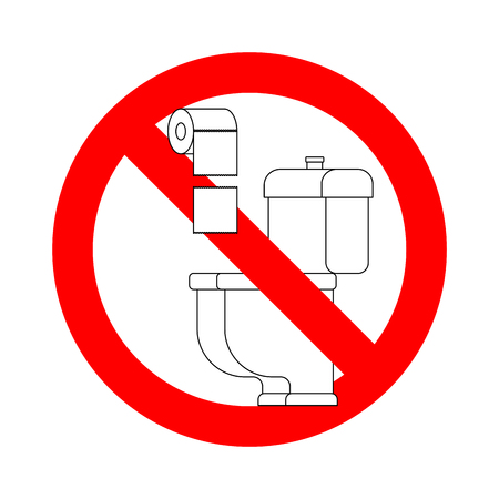 Do not throw paper towels in the toilet. Stop sign. Ban for WC Illustration