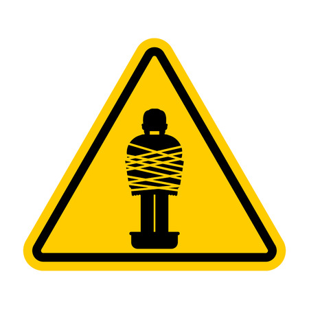 Attention Mafia victim. Caution gangster prey. Yellow road sign. Man tied up with rope Cement shoes. Warning Criminals Ilustración de vector