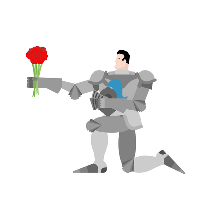 Knight standing on one knee and Bouquet of flowers. Valentines Day. February 14 illustration.