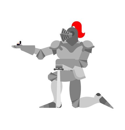 Knight standing on one knee and Wedding ring. Valentines Day. February 14 illustration.