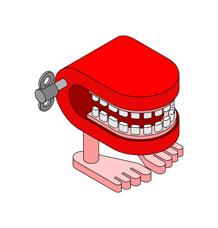 Chatter teeth toy. April Fools Day symbol. Jaw toy