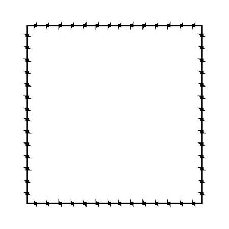 Cadre en fil de fer barbelé. Frontière de la prison des cadres de Barb. Illustration vectorielle Banque d'images - 109732928