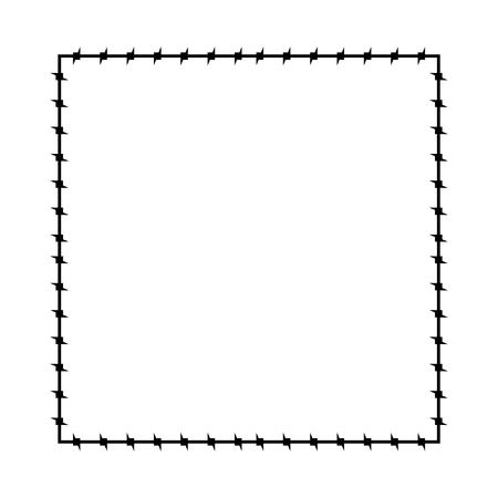 Estructura de alambre de púas. Borde de la prisión de cuadros de púa. Ilustración vectorial