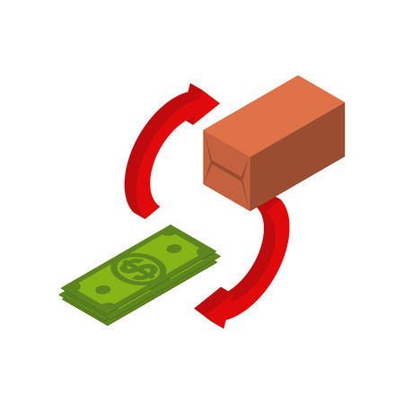 Exchange goods for money. Dollar and commodity. Financial relations. Buy and sell. Illustration