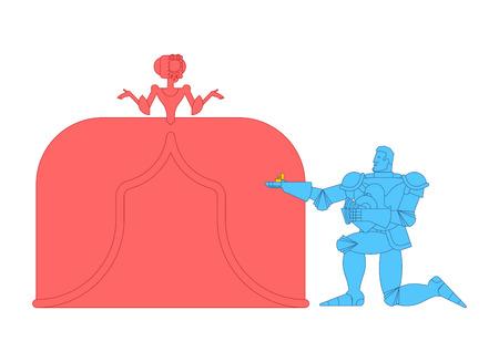 Caballero de pie sobre una rodilla y haciendo propuesta de matrimonio a la dama. Encuentro medieval. Amor medieval. Día de San Valentín. Ilustración del 14 de febrero.