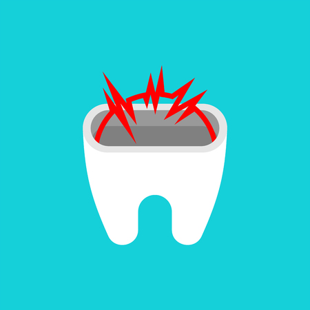 Nerve in tooth isolated. Dentist vector illustration Vettoriali