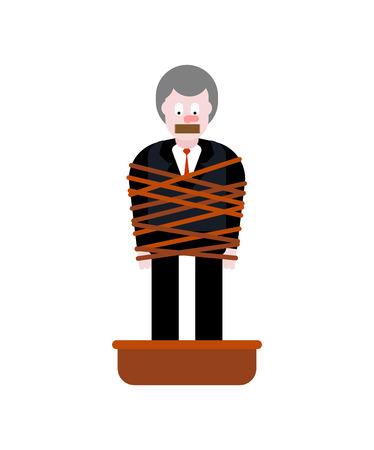 Homme attaché avec des chaussures de ciment de corde. Victime de la mafia. bassin avec du béton. proie de gangster
