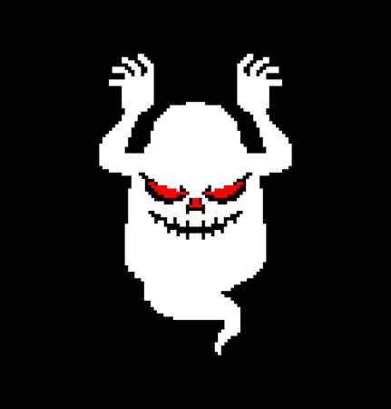 Ghost pixel art for Halloween. 8 bit phantom. Vector illustration