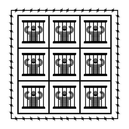 Jail symbol. Prisoner in prison. Perpetrator and bars on windows. Barbed wire around perimeter Illustration